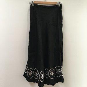 Sensuous 100% Silk Skirt Sequined Hemline